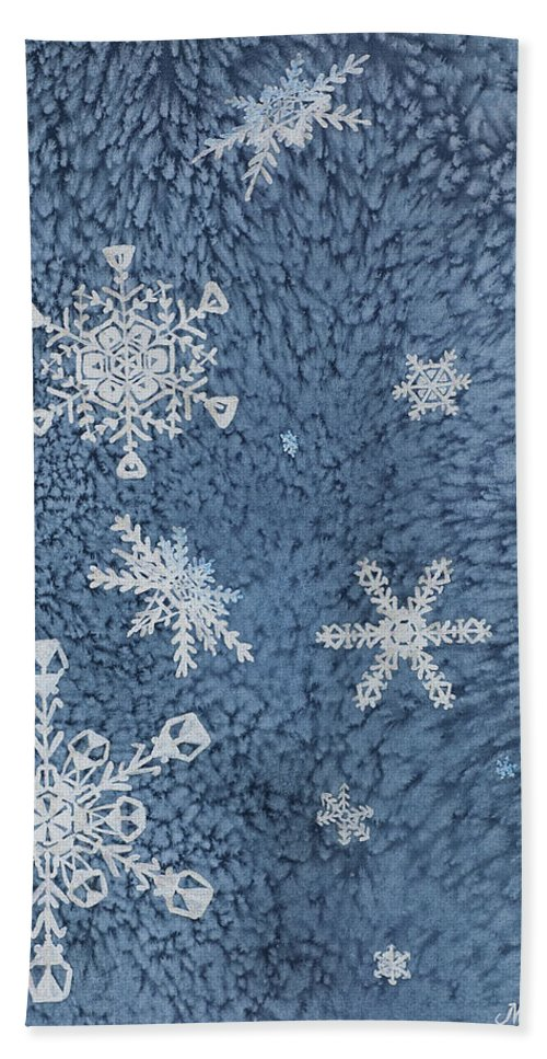 Contemporary Bath Sheet featuring the painting Snow Jewels by Margaret Bobb