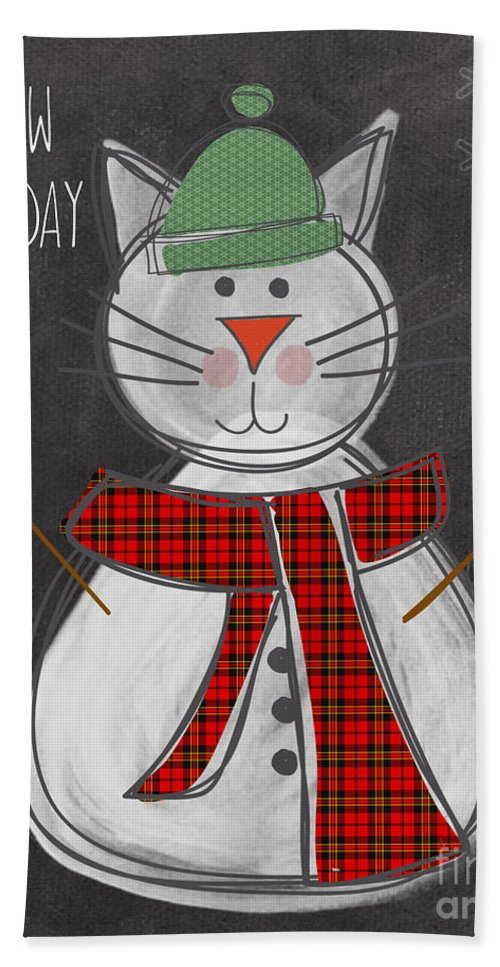 Cat Bath Towel featuring the painting Snow Kitten by Linda Woods