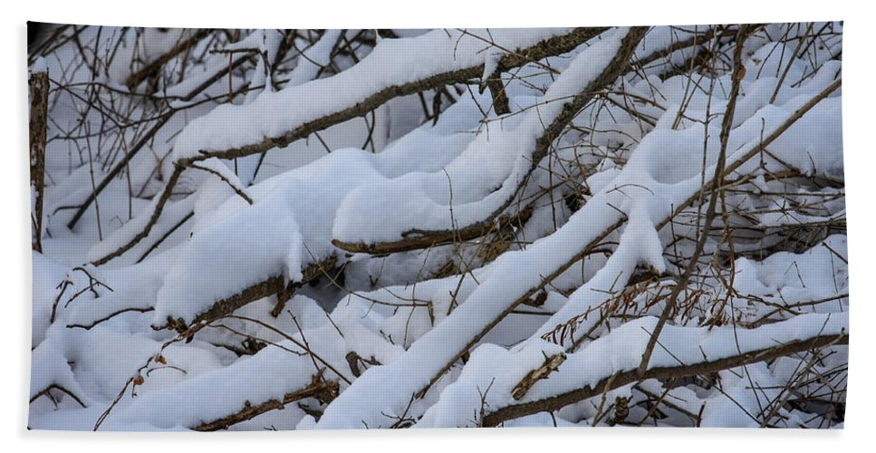 Snow Bath Sheet featuring the photograph Snow Laden by Jane Luxton