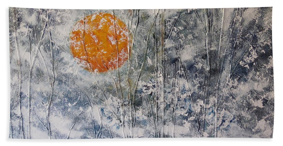 Storm Bath Sheet featuring the painting Snow Like A White Fleece by Dan Whittemore