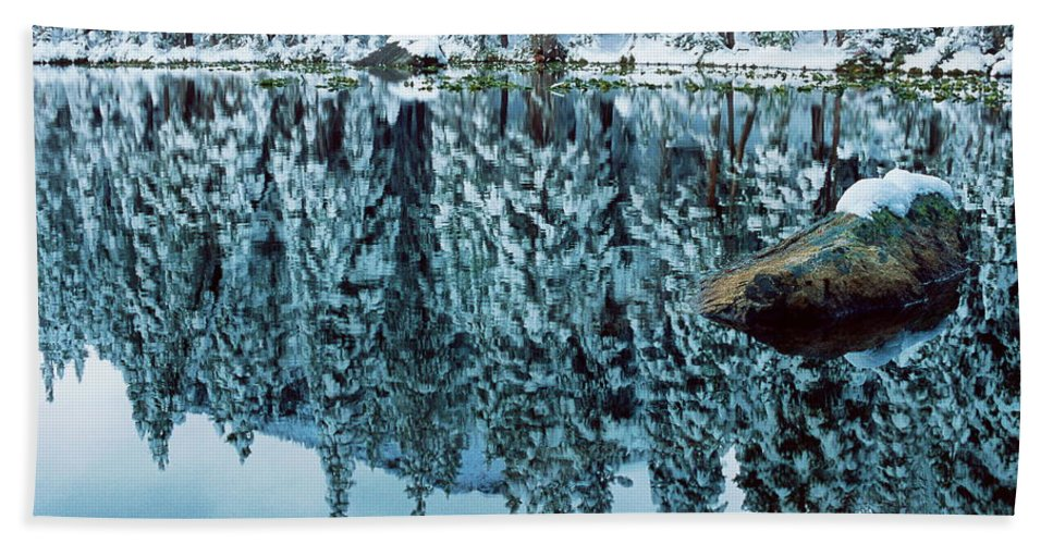 Photograph Hand Towel featuring the photograph Snow Mirror by Eric Glaser
