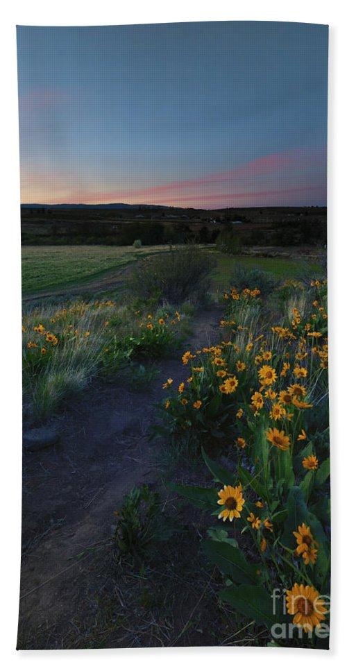 Trail Bath Sheet featuring the photograph Snow Mountain Trail by Mike Dawson
