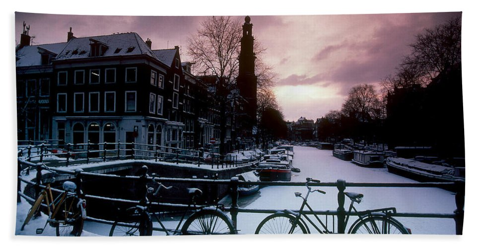 Snow Hand Towel featuring the photograph Snow On Canals. Amsterdam, Holland by Farrell Grehan