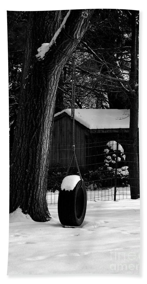 Tire Hand Towel featuring the photograph Snow On Tire Swing by Frank J Casella
