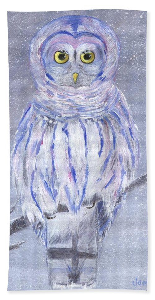 Snowy Owl Hand Towel featuring the painting Snow Owl by Jamie Frier