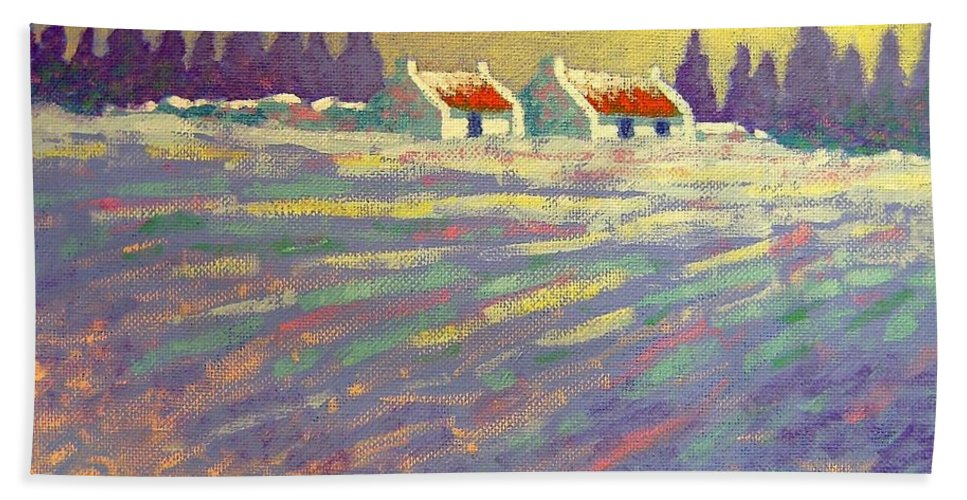 Ireland Hand Towel featuring the painting Snow Scape County Wicklow by John Nolan