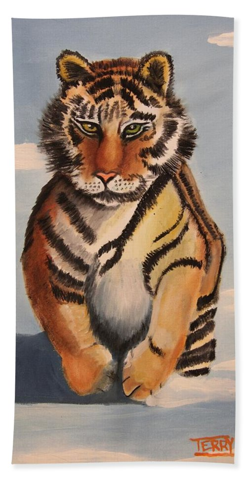 Tiger Cat Hand Towel featuring the painting Snow Tiger by Terry Lewey