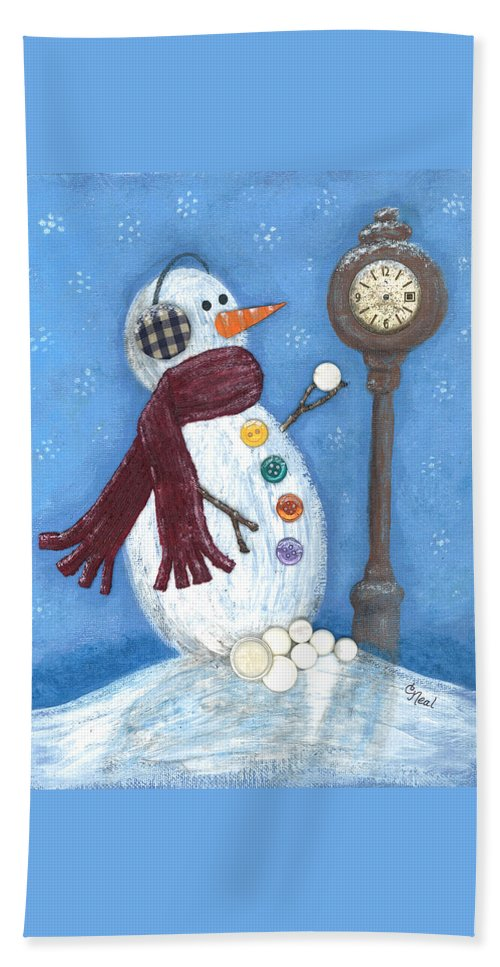 Snow Time Hand Towel featuring the mixed media Snow Time by Carol Neal
