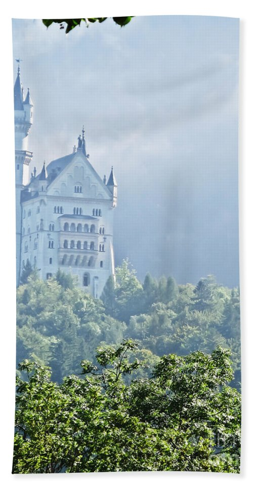 Travel Bath Sheet featuring the photograph Snow White's Palace In Morning Mist by Elvis Vaughn