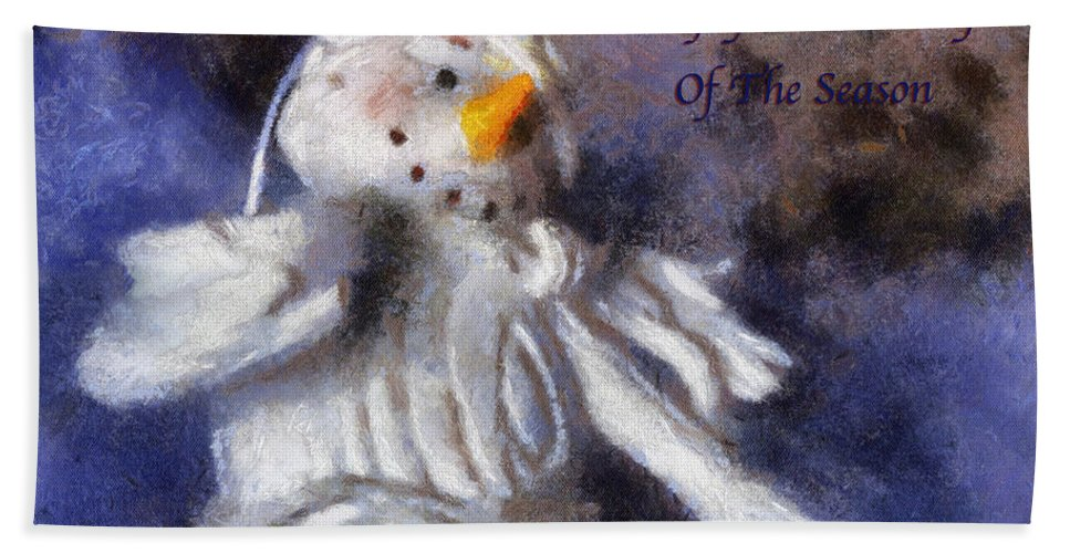 Snow Woman Bath Towel featuring the photograph Snow Woman Enjoy The Beauty Photo Art by Thomas Woolworth