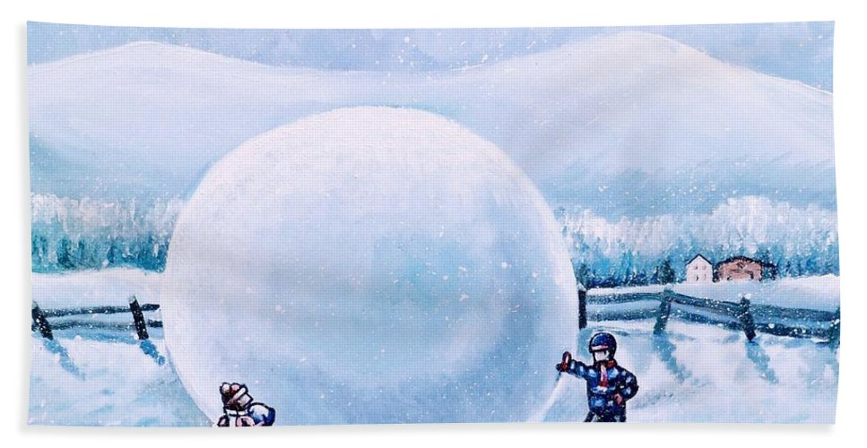 Snowball Fight Hand Towel featuring the painting Snowball Fight by Shana Rowe Jackson
