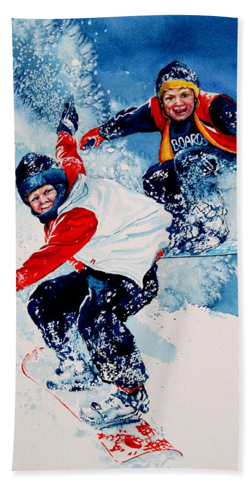 Sports Bath Sheet featuring the painting Snowboard Psyched by Hanne Lore Koehler
