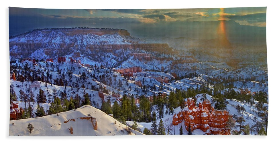 Bryce Canyon National Park Bath Sheet featuring the photograph Snowbow During Winter Sunrise Bryce Canyon National Park Utah by Dave Welling