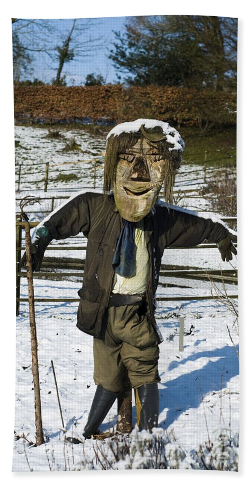 Snowcapped Bath Sheet featuring the photograph Snowcapped Scarecrow by Anne Gilbert
