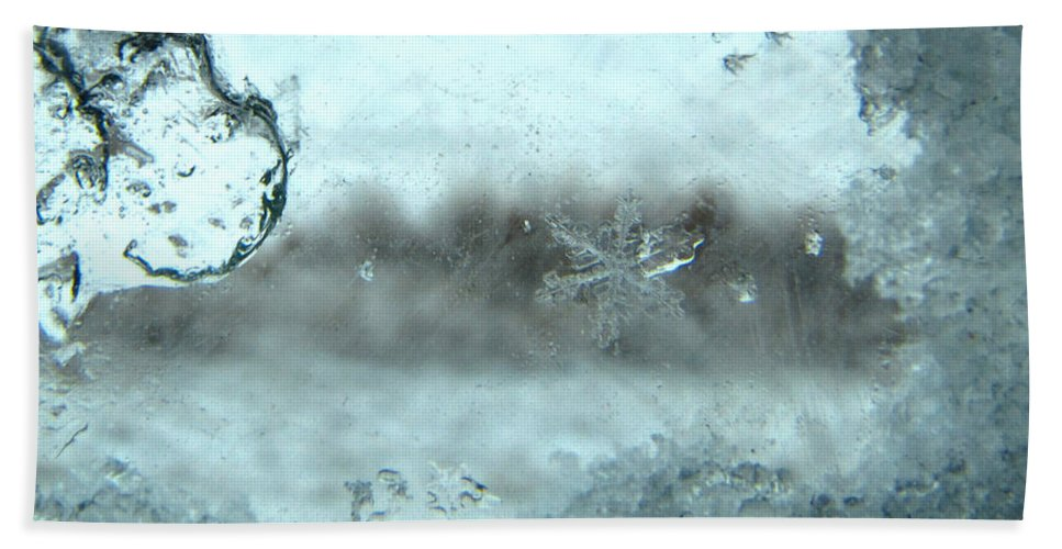 Winter Bath Sheet featuring the photograph Snowflake On My Window by Debbie Portwood
