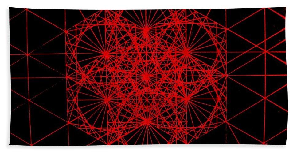 Koch.snowflake Bath Sheet featuring the drawing Snowflake shape comes from frequency and mass by Jason Padgett
