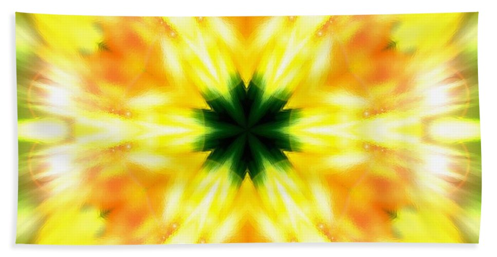 Sacredlife Mandalas Hand Towel featuring the photograph Snowflake Sunburst by Derek Gedney