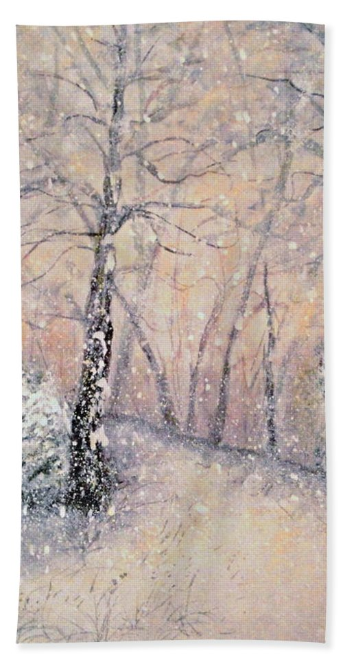 Snow Landscape Hand Towel featuring the painting Snowflakes by Natalie Holland