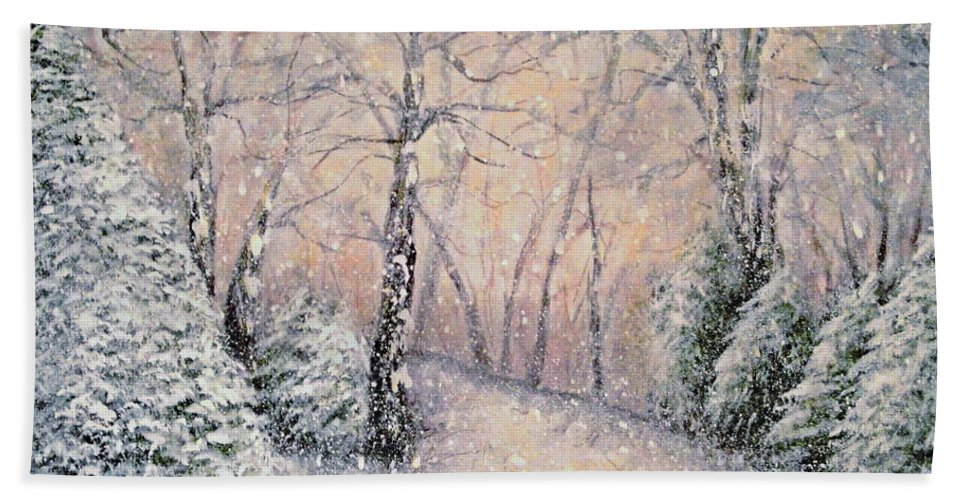 Snow Landscape Bath Sheet featuring the painting Snowflakes by Natalie Holland