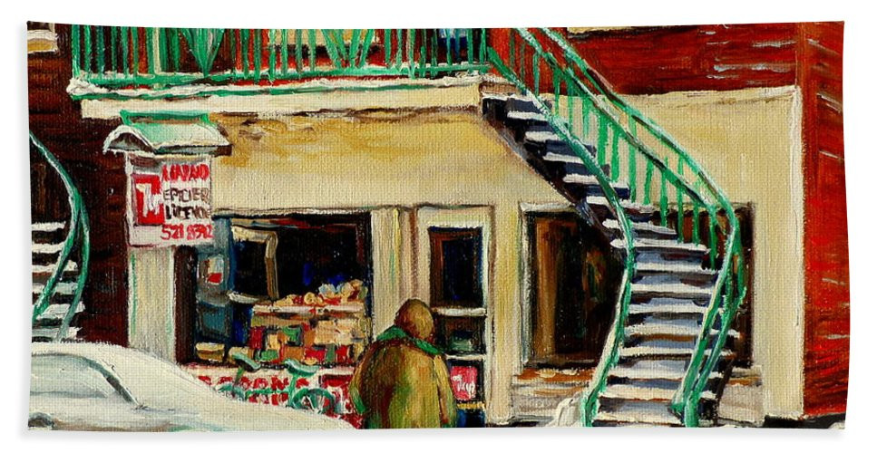 Montreal Bath Towel featuring the painting Snowing At The Five And Dime by Carole Spandau