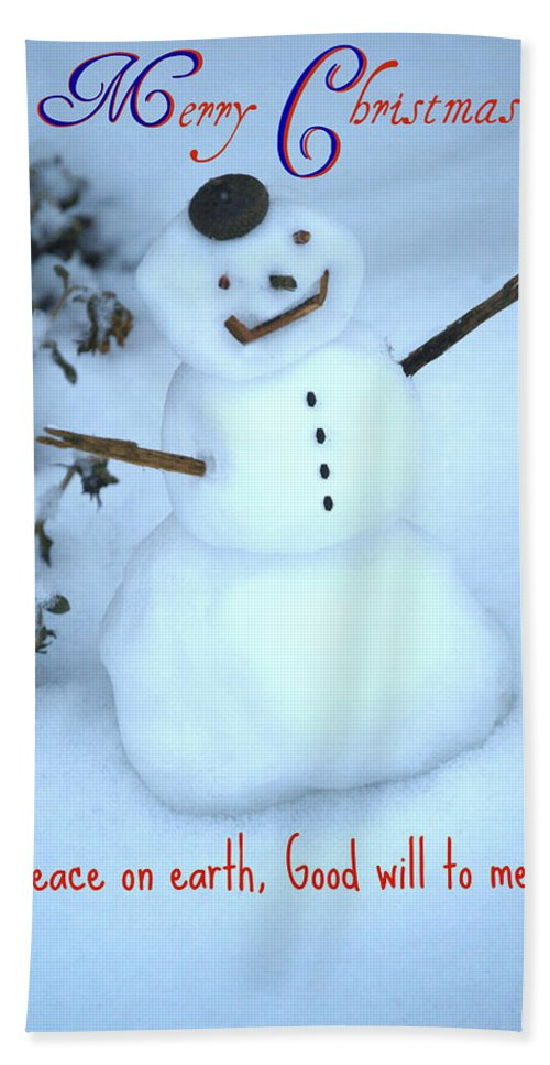 Acorn Hat Bath Sheet featuring the mixed media Snowman by Eric Liller