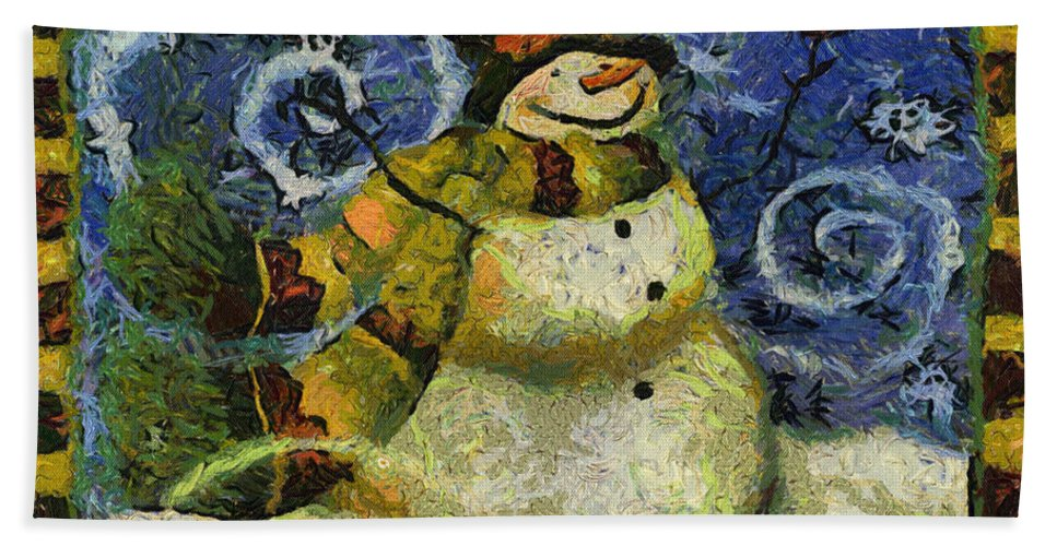 Winter Bath Towel featuring the photograph Snowman Photo Art 17 by Thomas Woolworth