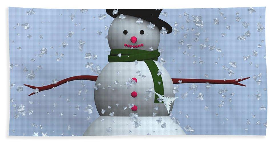 Snowman Hand Towel featuring the digital art Snowman... by Tim Fillingim