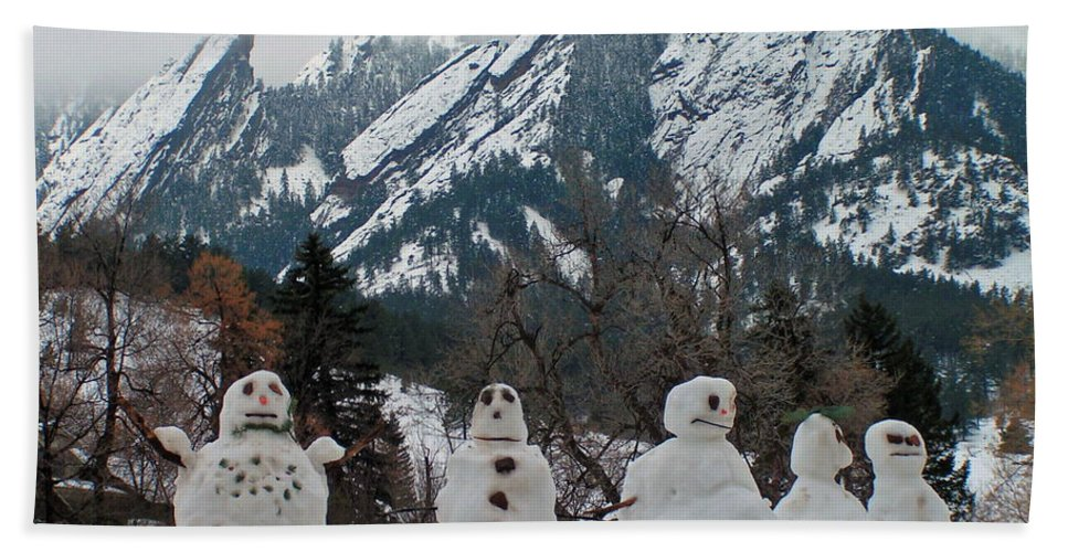 Snowman Winter Snow Nature Flatirons Boulder Colorado Rocky Mountains Nature Chautauqua Bath Sheet featuring the photograph Flatiron Snowmen. by George Tuffy