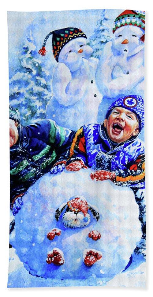 Snowman Print Bath Sheet featuring the painting Snowmen by Hanne Lore Koehler