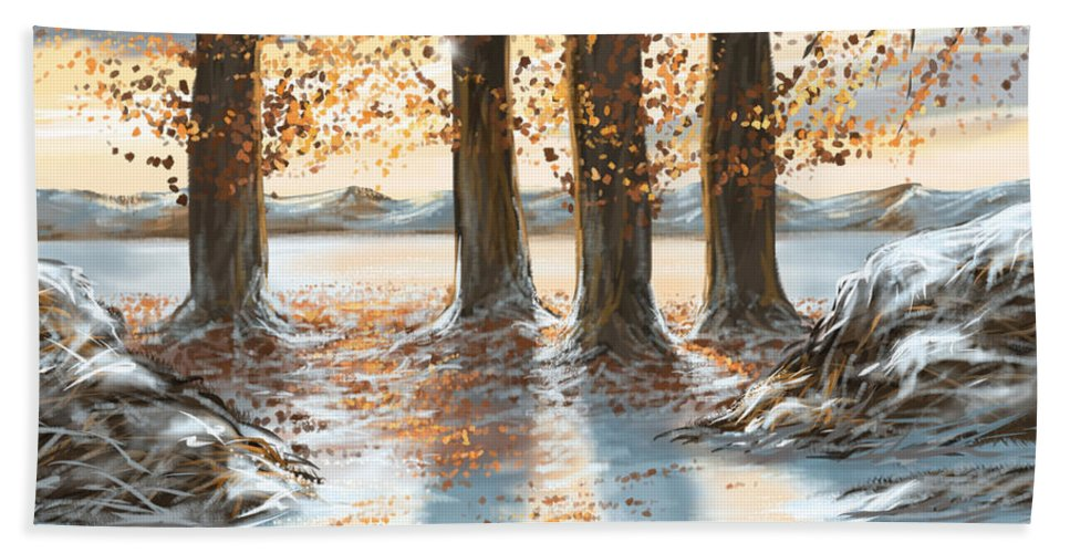 Snow Hand Towel featuring the painting Snowscape by Veronica Minozzi
