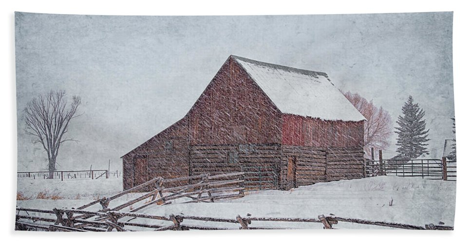 Barn Bath Sheet featuring the photograph Snowstorm At The Ranch 2 by Priscilla Burgers