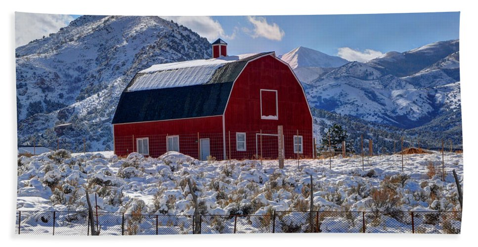 Utah Hand Towel featuring the photograph Snowy Barn In The Mountains - Utah by Gary Whitton