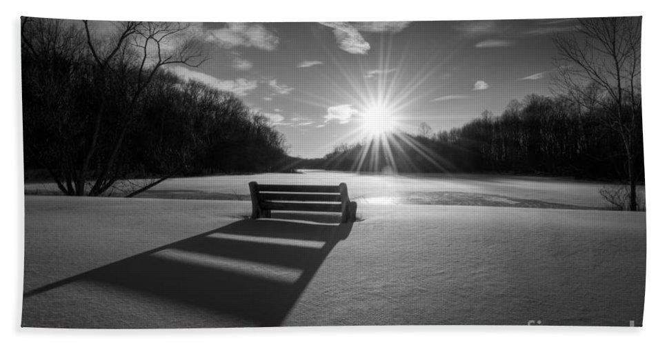 Michael Ver Sprill Bath Sheet featuring the photograph Snowy Bench Bw by Michael Ver Sprill