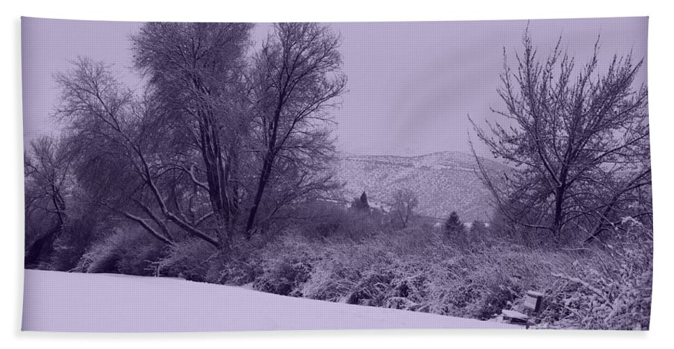 Winter Hand Towel featuring the photograph Snowy Bench In Purple by Carol Groenen