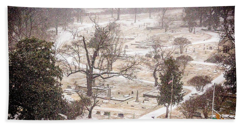 Historic Oak Hill Cemetery Bath Sheet featuring the photograph Snowy Cemetery by Tracy Brock