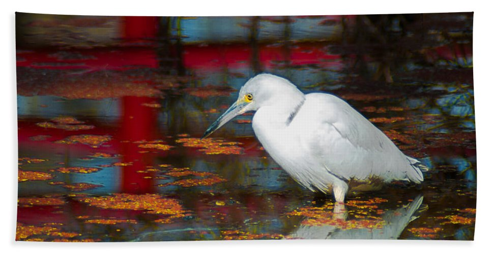 Optical Playground By Mp Ray Hand Towel featuring the photograph Snowy Egret Stalking His Lunch by Optical Playground By MP Ray