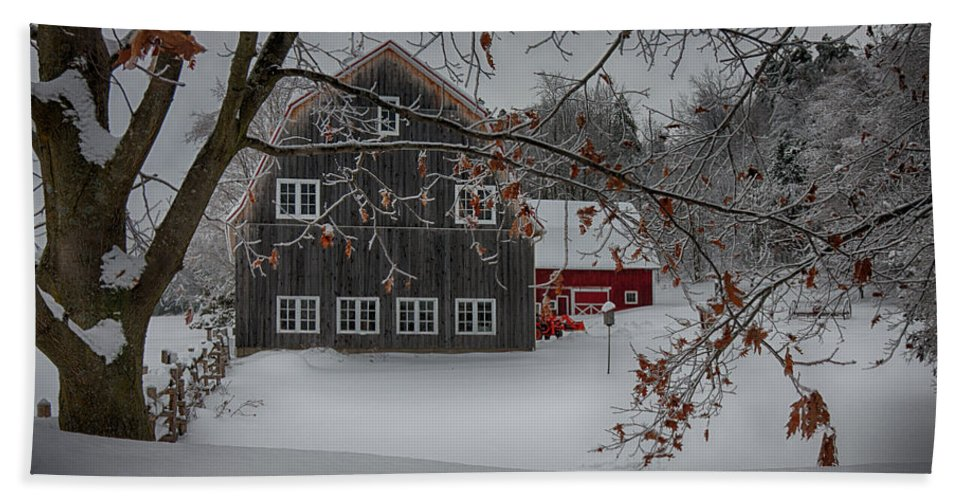 Scenic Vermont Photographs Hand Towel featuring the photograph Snowy Grey And Red by Jeff Folger