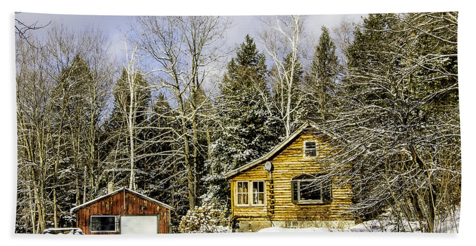 Snow Hand Towel featuring the photograph Snowy Log Home by Betty Denise