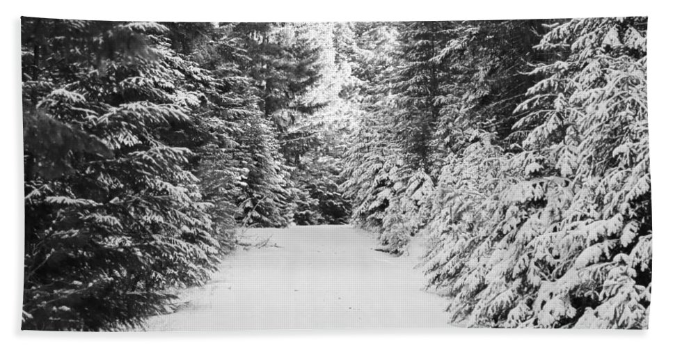 Black And White Hand Towel featuring the photograph Snowy Mountain Road - Black And White by Carol Groenen