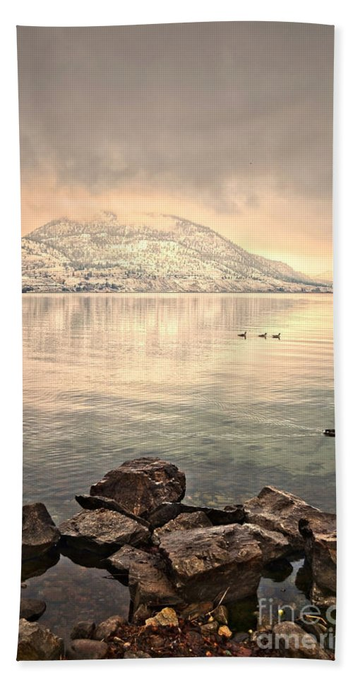 Mountains Hand Towel featuring the photograph Snowy Reflections by Tara Turner