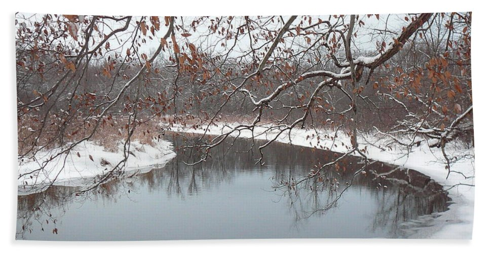 Highland Township Bath Sheet featuring the photograph Snowy River by Two Bridges North