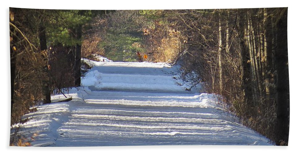 Trail Hand Towel featuring the photograph Snowy Trail by MTBobbins Photography