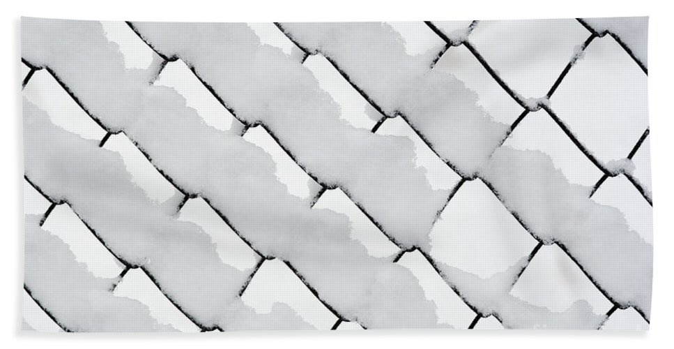 Winter Bath Sheet featuring the photograph Snowy Wire Netting by Michal Boubin