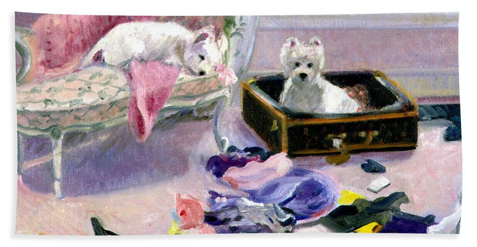 Dogs Bath Sheet featuring the painting So Glad You're Home by Candace Lovely