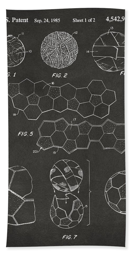 Soccer Hand Towel featuring the digital art Soccer Ball Construction Artwork - Gray by Nikki Marie Smith
