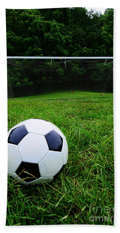 Paul Ward Bath Sheet featuring the photograph Soccer Ball On Field by Paul Ward