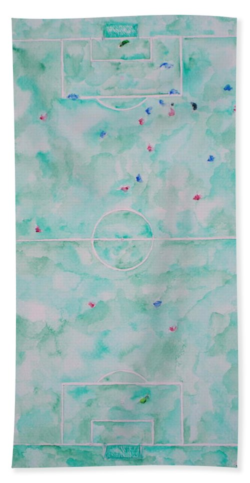 Football Hand Towel featuring the painting Soccer 'em All by Fabrizio Cassetta