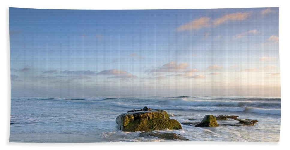 La Jolla Bath Sheet featuring the photograph Soft Blue Skies by Peter Tellone