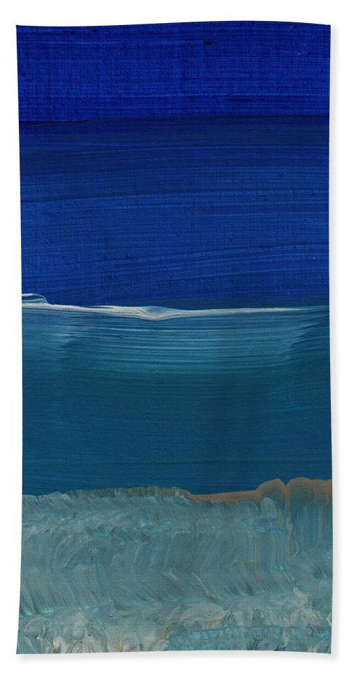 Abstract Art Hand Towel featuring the painting Soft Crashing Waves- Abstract Landscape by Linda Woods