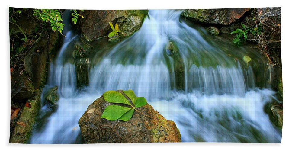 Creek Hand Towel featuring the photograph Soft Flow by John Absher